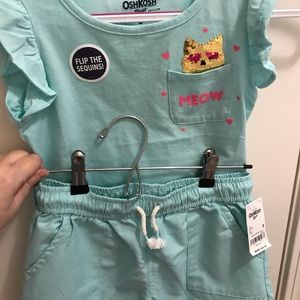 NWT Osh Kosh B'gosh Kitty Shirt & Shorts Outfit